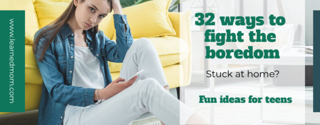 32 ways to fight the boredom. Girl sitting on floor with phone.